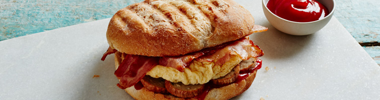 Sausage, Egg & Bacon Ciabatta Roll