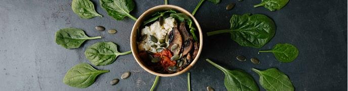 Scrambled Egg with Portobello Mushroom & Spinach Breakfast Pot
